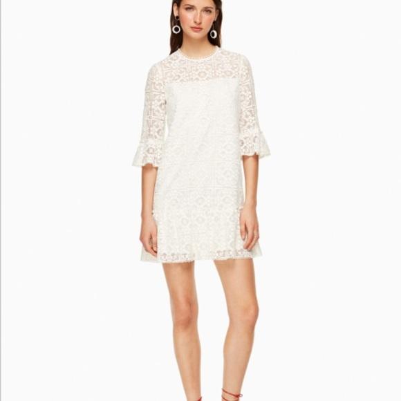 5a65a0c04b3b kate spade Dresses | New York White Flounce Lace Shift Dress | Poshmark